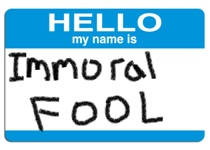 name tag immoral fool small